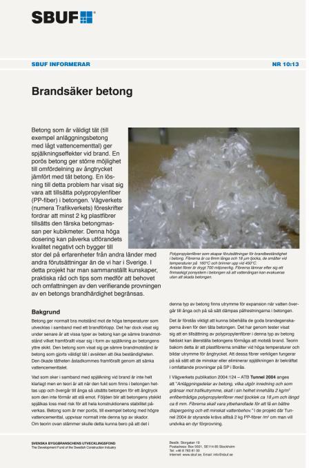 SBUF Informerar, nr. 10-13 - Brandsäker betong