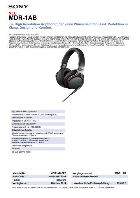 Datenblatt MDR-1AB von Sony