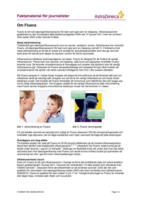 Fakta om Fluenz (influensavaccin)