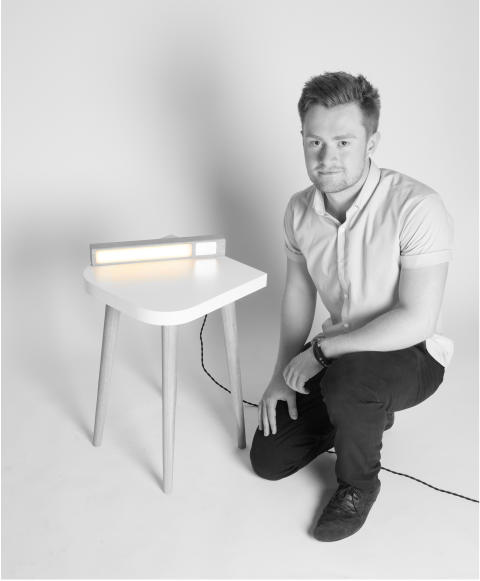 Jake Barker with his award-winning lamp