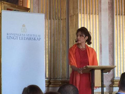 Azita Shariati höll tal på Stockholms slott om värdebaserat ledarskap