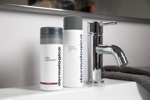 Daily Superfoliant and Special Cleansing Gel on Sink