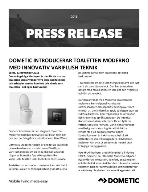 Dometic Introducerar Toaletten Moderno Med Innovativ VariFlush-Teknik