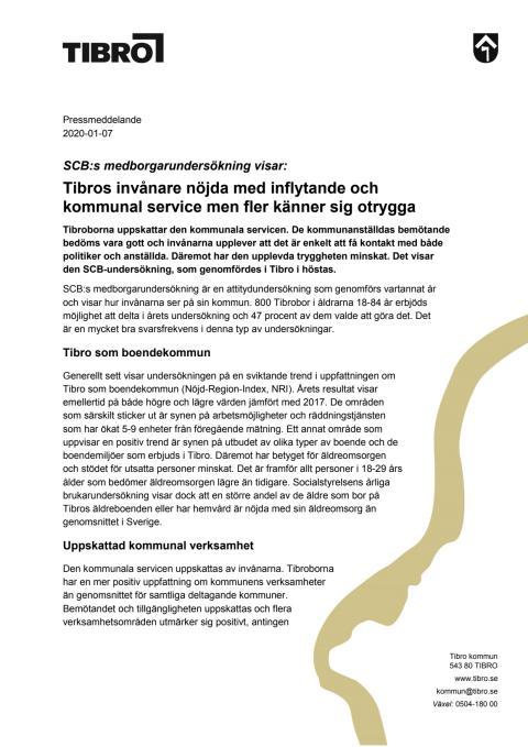 Pressmeddelande om SCB:s medborgarundersökning i Tibro