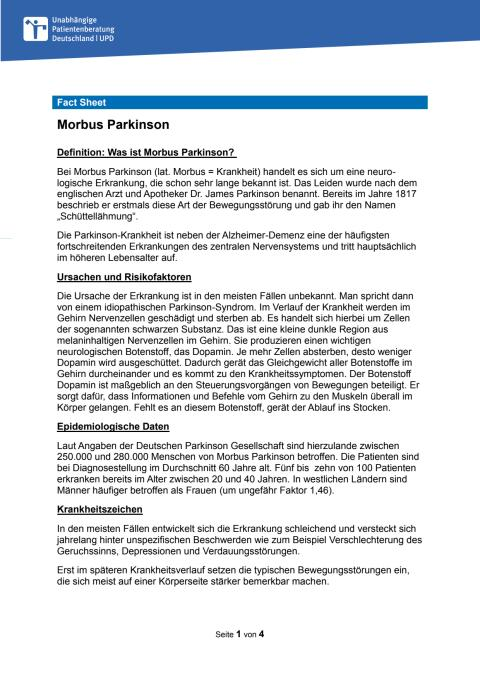 Fact Sheet Parkinson