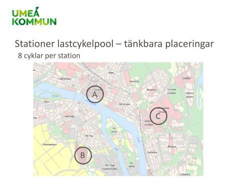 Karta med tänkbara stationer för lastcykelpool