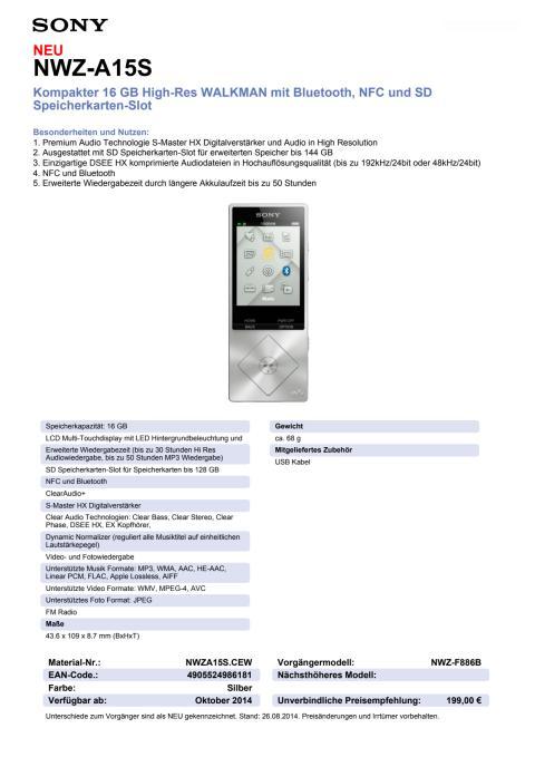 Datenblatt WALKMAN NWZ-A15S von Sony