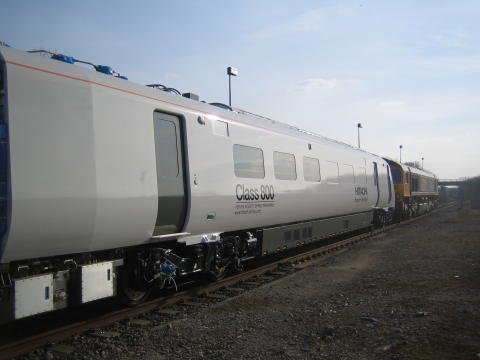 The first of the Class 800 trains arrives at RIDC at Asfordby