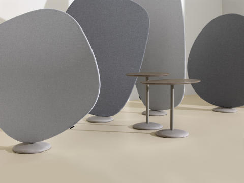 Wind room divider and tables designed by Jin Kuramoto