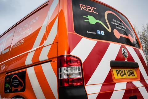 Rear view of the RAC's first EV charging van