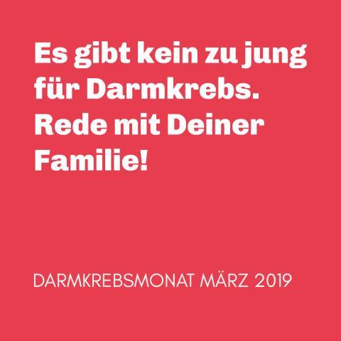 Ankündigung: Das Motto des Darmkrebsmonat März 2019