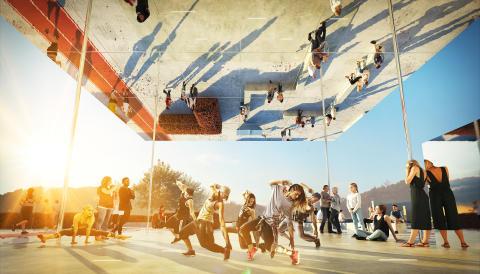 Slottssskogsvallens nya mötesplats - ett spegeltak med plats för dans som kan bli en symbol för platsen