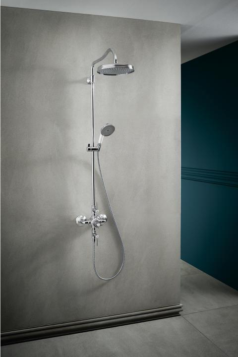 AXOR Montreux Showerpipe med huvuddusch, handdusch och termostatblandare