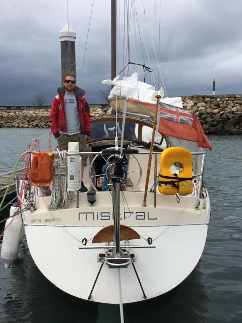 Hi-res image - Ocean Signal - Sailor Edward Harwood on-board Mistral
