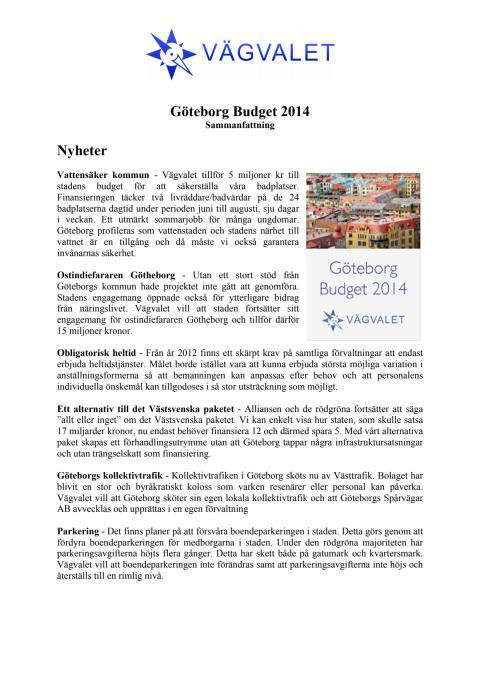 Sammanfattning - Budget 2014 för Göteborg Stad