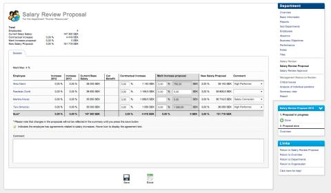 Skärmbild av förslag på lönerevision i Verismo HR