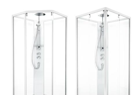 Voit valita Showerama 10-5 -suihkukaapin joko viisikulmaisena tai nelikulmaisena