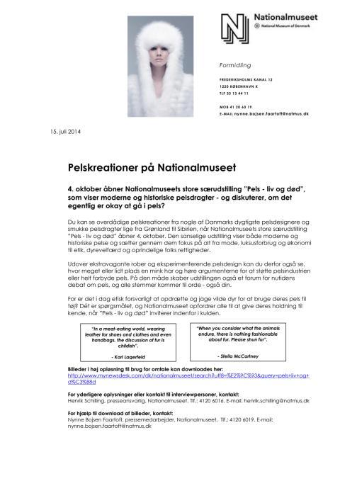 Pels - liv og død - Pressemateriale til magasiner og blade om særudstilling om pels på Nationalmuseet 2014