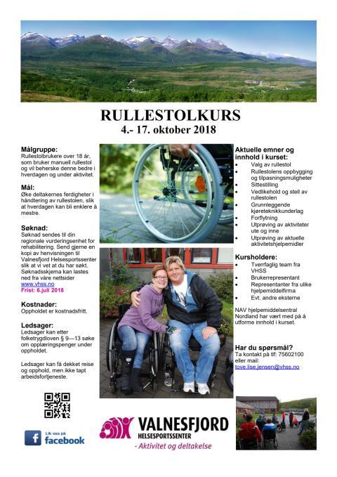 Rullestolkurs for unge voksne og voksne 4.-17.okt. 2018