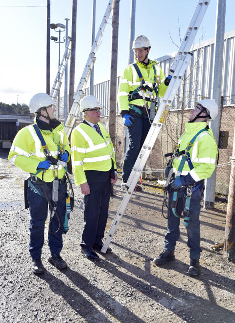 PICTURED L-R  apprentice Stuart Doherty,  Fergus Ewing MSP, apprentice Adam Archibald and Stuart Doherty all apprentice engineers