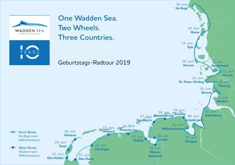 """Jubiläums-Radtour """"Ein Wattenmeer. Zwei Räder. Drei Länder."""""""