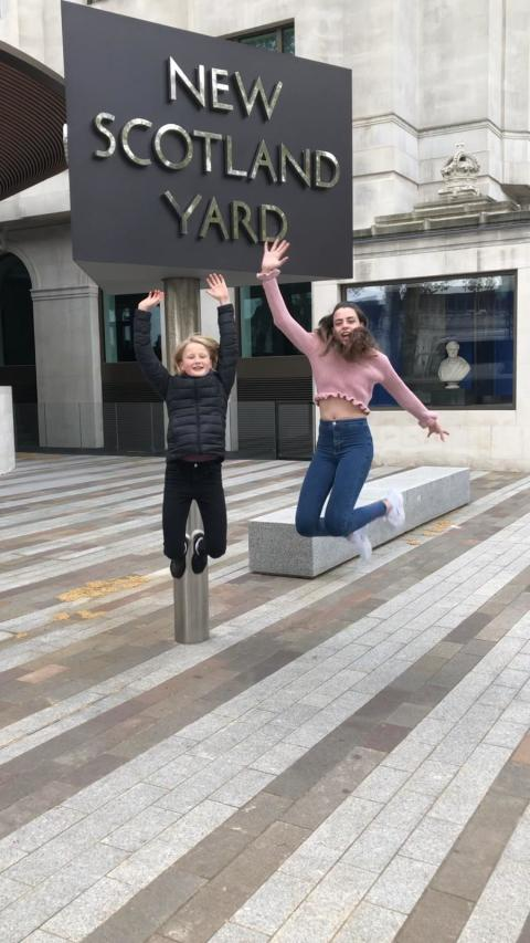 Two daughters outside NSY (jumping)