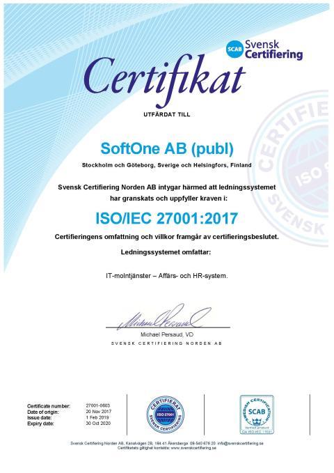 SoftOne Group stärker sitt ledningssystem för informationssäkerhet ytterligare