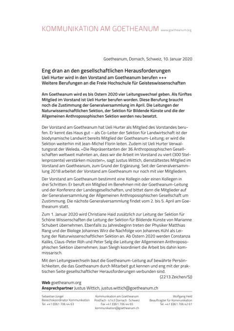 MM 2020 01 10 Berufungen Goetheanum Vorstand Sektionen