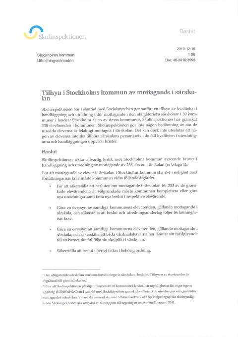 Skolinspektionens rapport om mottagande i särskolan