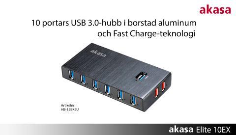 Snabbladdande 10-portars USB-hubb