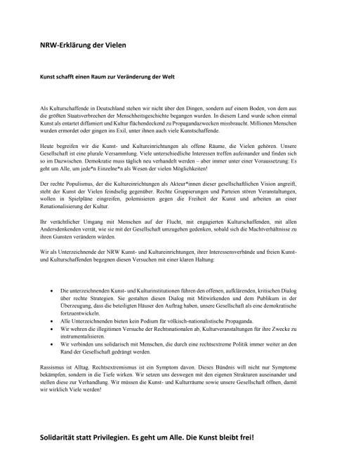 NRW-Erklärung der Vielen & Selbstverpflichtung