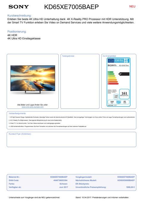 Datenblatt KD65XE7005BAEP von Sony