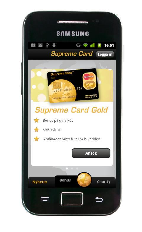 Resurs Bank lanserar Supreme Card-app för Android-telefoner