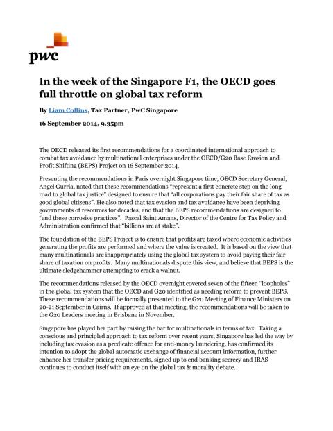 In the week of the Singapore F1, the OECD goes full throttle on global tax reform
