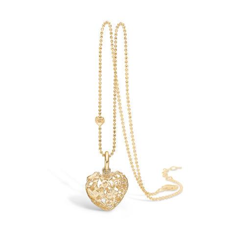 Håndlaget hjertesmykke i sølv, gullforgyllet 1350,-