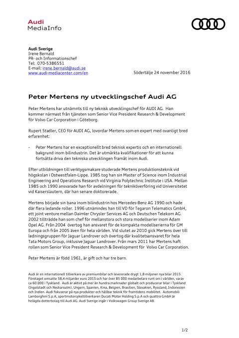 Peter Mertens ny Utvecklingschef AUDI AG