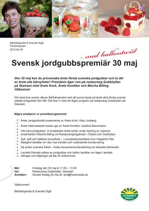 Inbjudan till Årets Jordgubbspremiär 2012
