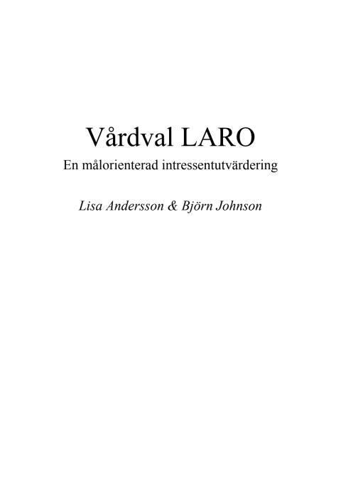 Målutvärdering vårdval Laro