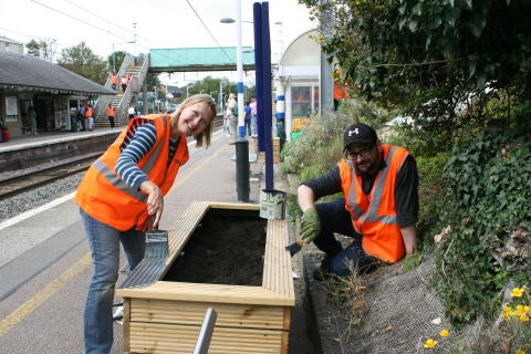 Govia Thameslink Railway staff and volunteers brighten up Royston station