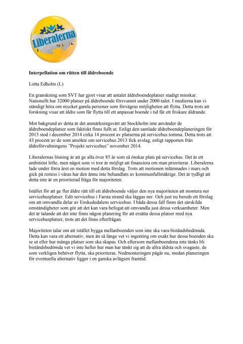Interpellation om lediga servicehuslägenheter i Stockholm