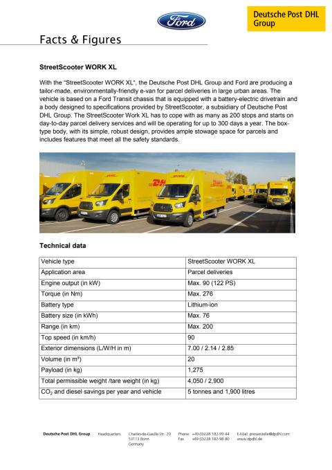 Factsheet om DHL's StreetScooters
