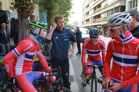 Foss, Boasson Hagen og Skjolden under trening sykkel-VM 2014