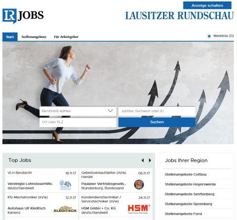 Nach dem Relaunch durch stellenanzeigen.de: lr-jobs.de, der Online-Stellenmarkt der Lausitzer Rundschau.