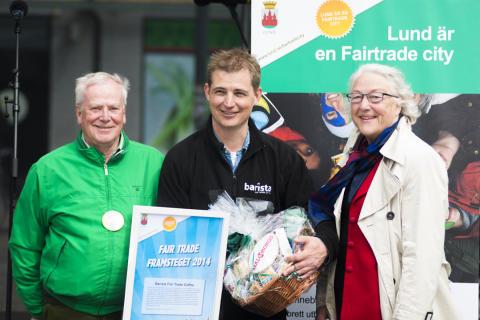 """Barista vinnare """"FairtradeFramsteget 2014"""" från Lunds Kommun"""