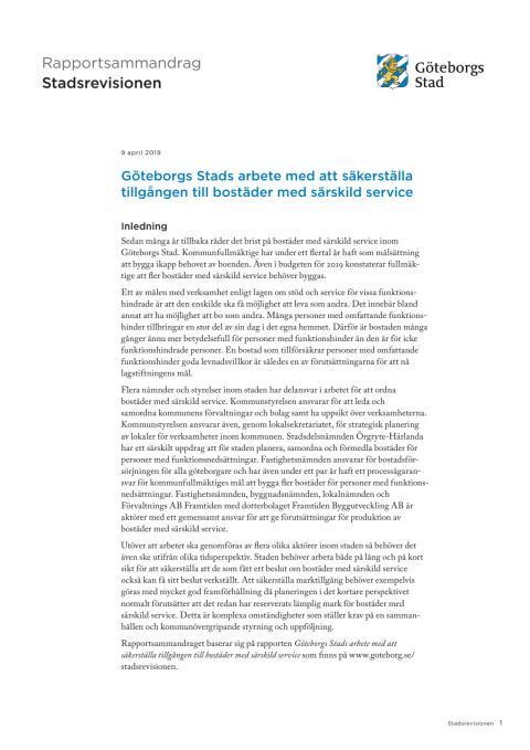 Sammandrag – Göteborgs Stads arbete med att säkerställa tillgången till bostäder med särskild service (2019-04-09)