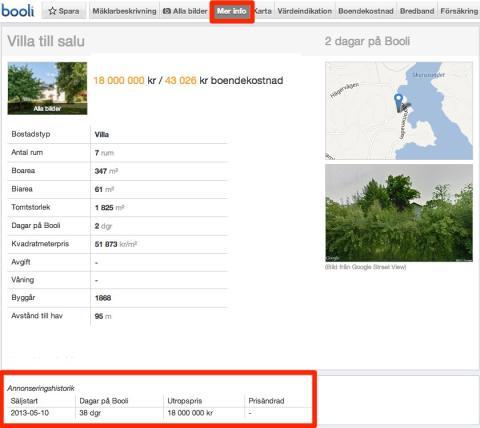 Booli.se visar annonseringshistorik för bostadsannonser