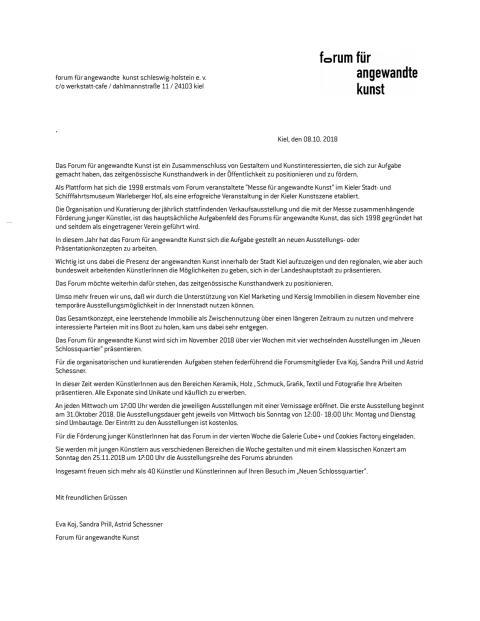 Pressemitteilung vom Forum für angewandte Kunst