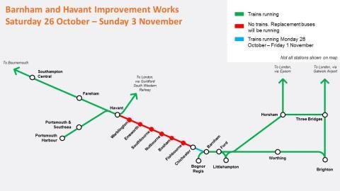 Engineering work Barnham-Havant autumn half term 2019