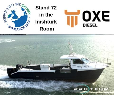 Proteum displays the Oxe Diesel at Skipper expo int. Galway. 8-9 March. Stand 72, Inishturk Room