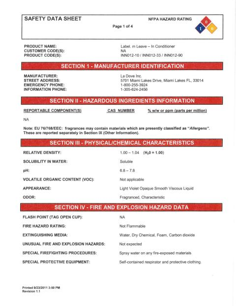 label.m MSDS Leave-In Conditioner